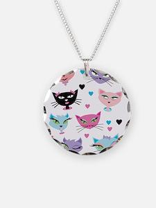 Cute cartoon cats card Necklace