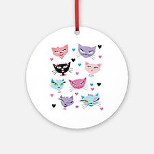 Cute cartoon cats card Round Ornament