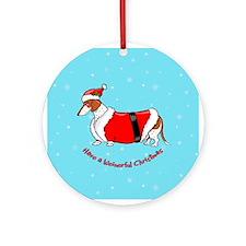 Red Piebald Santa Ornament (Round)