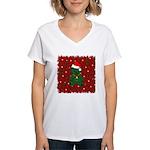 Christmas Bear Women's V-Neck T-Shirt