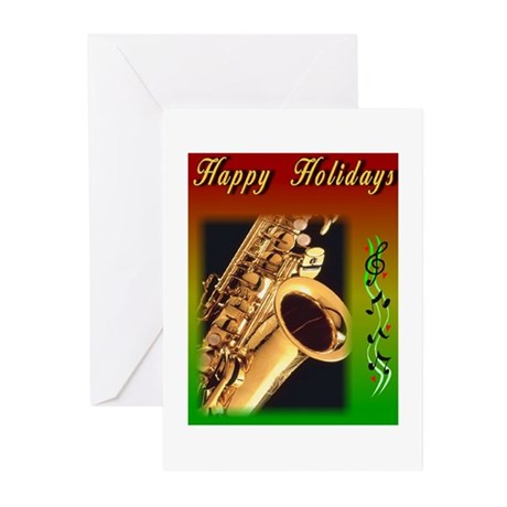 Sax holidays 1 Greeting Cards (Pk of 10)