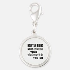 Mountain Biking more awesome t Silver Round Charm