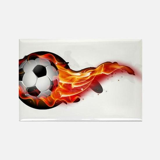 Soccer ball on fire Magnets