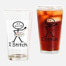 Cross Stitch Stick Figure Drinking Glass