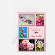 77th birthday, beautiful flowers birthday card Gre