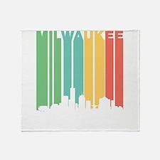 Vintage Milwaukee Cityscape Throw Blanket