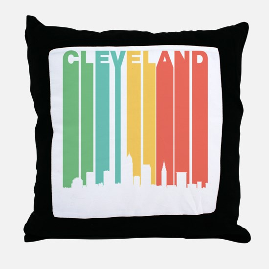 Vintage Cleveland Cityscape Throw Pillow