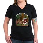 Praying Santa Women's V-Neck Dark T-Shirt
