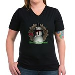 Snowman Women's V-Neck Dark T-Shirt