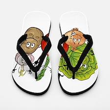 Funny cartoon vegetables Flip Flops