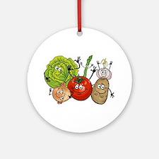 Funny cartoon vegetables Round Ornament