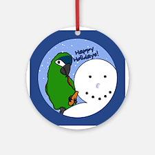 Snowman Hahn's Macaw Christmas Ornament