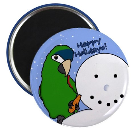 Snowman Noble Macaw Christmas Magnet
