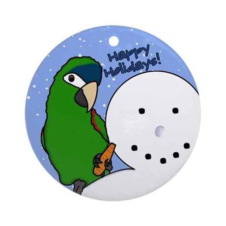 Snowman Noble Macaw Christmas Ornament