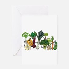 Funny cartoon vegetables Greeting Cards