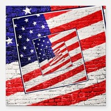 Patriotic American Flag Abstract Square Car Magnet