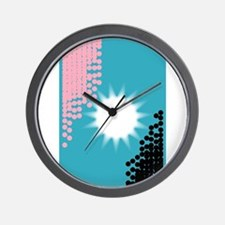 Pink and Blue Background Wall Clock