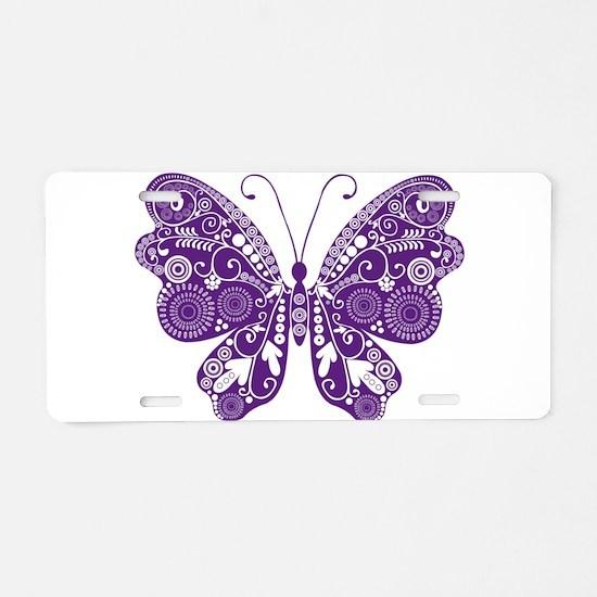 Beautiful purple butterfly Aluminum License Plate