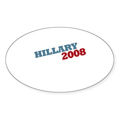 """""""Hillary 2008"""" Red and Blue Oval Sticker"""