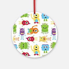 Little Monster Pattern Round Ornament