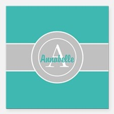 Teal Gray Monogram Personalized Square Car Magnet