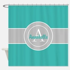 Teal Gray Monogram Personalized Shower Curtain