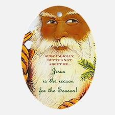 Santa's Jolly, But... ornament - blk