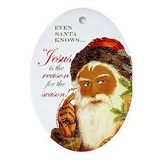 Even Santa Knows JESUS Ornament - blk w/wh bcgrd