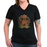 Gingerbread Man Women's V-Neck Dark T-Shirt