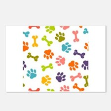 Dog paw seamless pattern Postcards (Package of 8)