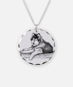 Hand drawn huskies dog Necklace