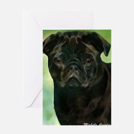 Cute Pug father%27s day Greeting Card