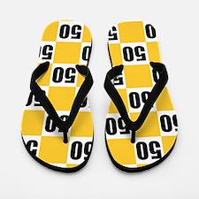 50th Birthday Checkerboard Flip Flops