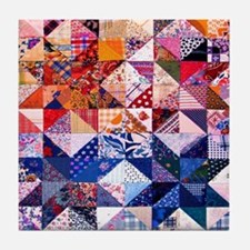 Colorful Patchwork Quilt Tile Coaster