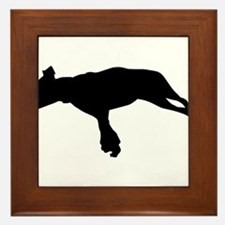 Jumping dog silhouette Framed Tile
