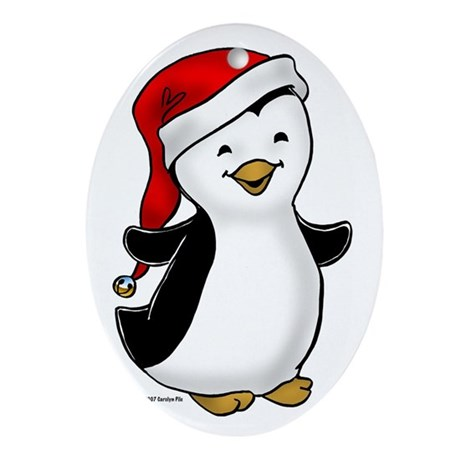 Jolly Penguin Oval Ornament