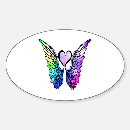 Cute Heart angel wings Sticker (Oval)
