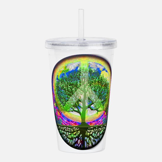 Rainbow Peace on Earth Acrylic Double-wall Tumbler