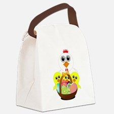 Funny chicken with a basket full Canvas Lunch Bag