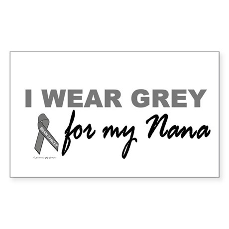 I Wear Grey For My Nana 2 (BC) Sticker (Rectangula