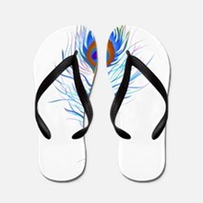 Peacock feather watercolor Flip Flops