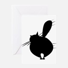 Black cat posing backside Greeting Cards