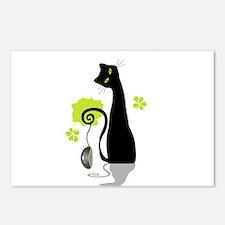 Funny black cat design Postcards (Package of 8)