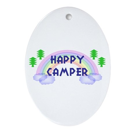 """Happy Camper"" Oval Ornament"