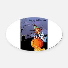 Halloween theme design illustratio Oval Car Magnet
