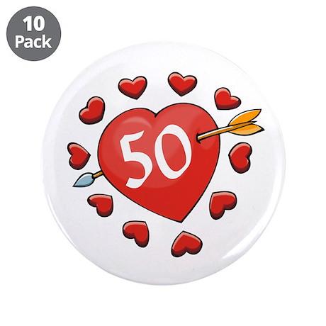 """50th Valentine 3.5"""" Button (10 pack)"""