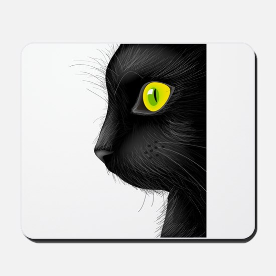 Black cat face with bright eye Mousepad