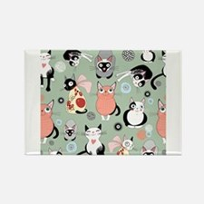 Funny cartoon cat design pattern Magnets