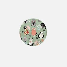 Funny cartoon cat design pattern Mini Button