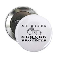 "Serves & Protects Cuffs - Niece 2.25"" Button"